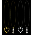 Gold and silver heart and diamond necklaces vector image