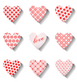 heart icons set for valentines vector image