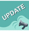 Megaphone with UPDATE announcement Flat style vector image