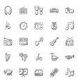 musical instruments hand-drawn icons vector image
