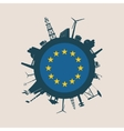 Circle with industrial silhouettes Europe flag vector image