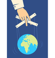 Hand controls the Earth vector image
