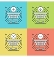 Flat line icons set Thin linear stroke vector image