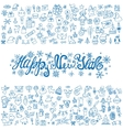 New year greeting cardLinear IconstitleBlue vector image