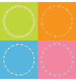 Round frame wreath set Daisy flower star leaf dot vector image