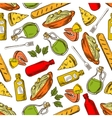 Seamless italian cuisine dishes and drinks pattern vector image