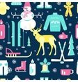 Seamless pattern with winter icons vector image