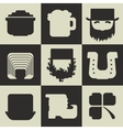Set of black and white flat Irish St Patricks Day vector image
