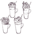 sketch of milkshakes vector image