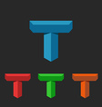 T logo 3D letter creative mockup isometric icon vector image