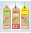 tags for clothing template whith cotton vector image