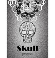 Skull in floral style your concept design Black n vector image