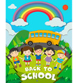 Back to school theme with school bus and kids vector image