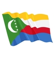 political waving flag of comoros vector image vector image