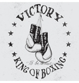 Vintage sports label with boxing gloves vector image vector image