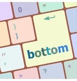 Bottom word on computer pc keyboard key vector image