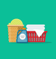laundry linen or clothes in baskets vector image