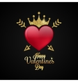 Valentines Day Heart Gold lettering Background vector image