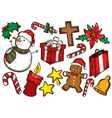set of colorful christmas stuff vector image