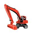 mechanical digger excavator retro vector image vector image