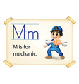 A letter M for mechanic vector image