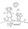 Kids Drawing The Mothers Day heart happy vector image