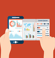 hands holding mobile with analytic and data vector image