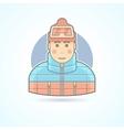 Warm dressed man snowboarder skier icon vector image