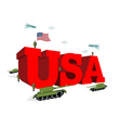 USA letters 3D Patriotic artwork military in vector image