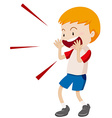 Little boy yelling at something vector image