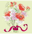bouquet of poppies and daisies vector image vector image