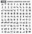 Cargo logistics icon set vector image