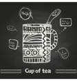 chalk drawings Decorative cup of coffee vector image