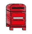 color crayon stripe image cartoon red post office vector image