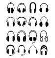 Headphones icons set vector image