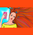 redhead woman taking selfie vector image