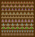 set of ornamental borders of beads of gold color vector image
