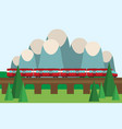 train on railway travel concept background vector image