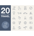 Vacation icons blue line contour series vector image