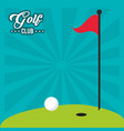 golf club red flag hole in one field vector image