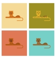 assembly flat icons nature cartoon tiger vector image