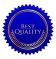 blue seal gold laurels vector image