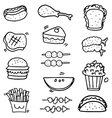 Doodle of food and fruit object vector image