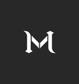 Letter M logo medieval style wedding invitation vector image
