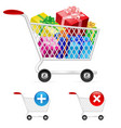 shopping cart full of shopping gift boxes on vector image