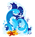 Sea surf in decorative style vector image vector image