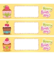 Happy Birthday card background with cupcakes vector image