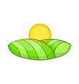 Green and sun icon cartoon style vector image