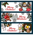 Christmas holidays banner set for festive design vector image