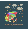 Colorful cute birds under umbrella vector image